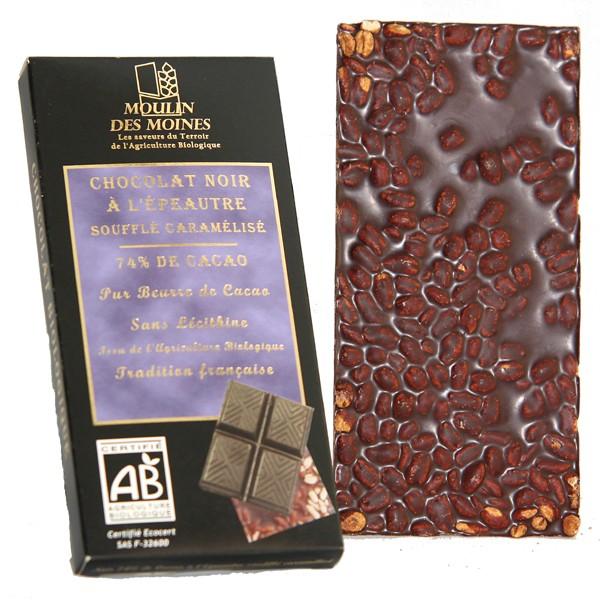 Tablette chocolat noir l 39 peautre souffl bio moulin des moines - Emballage tablette chocolat a imprimer gratuit ...